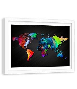 Foto in frame , Veelkleurige wereld op zwart , 120x80cm , wanddecoratie , premium print