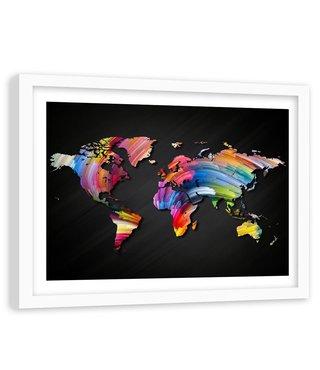 Foto in frame , Regenboog Wereld , 120x80cm , multikleur , wanddecoratie