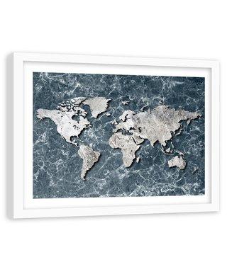 Foto in frame , Witte wereld op marmer , 120x80cm , wit grijs , wanddecoratie