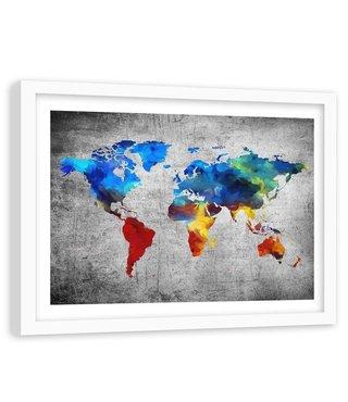 Foto in frame , Gekleurde Wereld op Beton , 120x80cm , wanddecoratie