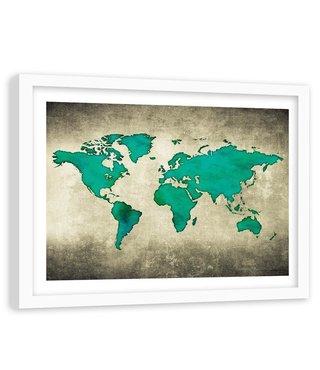 Foto in frame , Groene Vintage Wereld , 120x80cm , wanddecoratie , Premium print