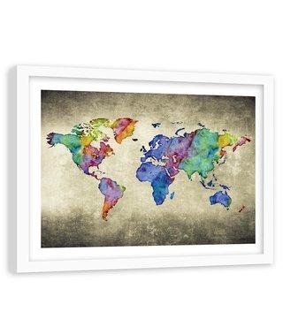 Foto in frame , Gekleurde Vintage Wereld , 120x80cm , wanddecoratie , Premium print