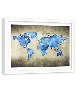 Foto in frame , wereld in Blauwe tinten 2 , 120x80cm , wanddecoratie , Premium print