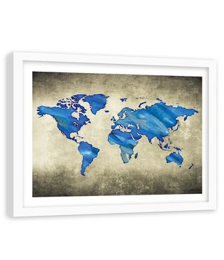Foto in frame , wereld in Blauwe tinten , 120x80cm , wanddecoratie , Premium print