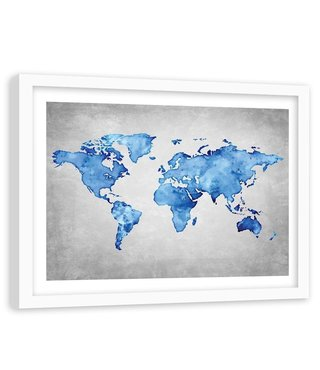 Foto in frame , Blauwe kaart van de wereld , 120x80cm , blauw grijs ,wanddecoratie , Premium print