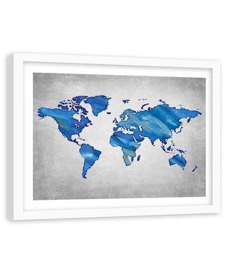 Foto in frame , Wereld in blauw tinten , Wereldkaart , 120x80cm ,wanddecoratie ,Premium print