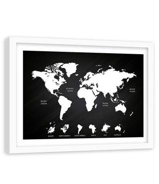 Foto in frame , Wereld in Zwart wit , Wereldkaart , 120x80cm , wanddecoratie , Premium print