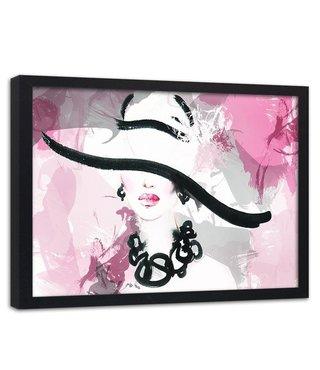Foto in frame , Vrouw met hoed , 120x80cm , zwart wit roze , wanddecoratie
