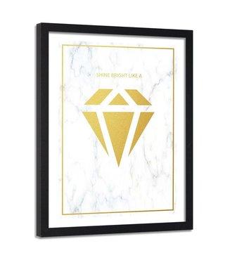 Foto in frame , Shine bright like a diamond  3, 80x120cm , wit geel , wanddecoratie