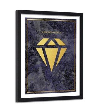 Foto in frame , Shine bright like a diamond , 80x120cm , zwart geel , wanddecoratie