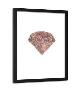 Foto in frame , Roze diamant , 80x120cm , wit roze , wanddecoratie