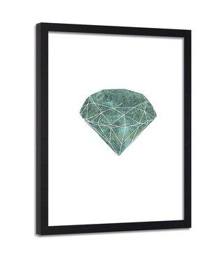 Foto in frame , Groene diamant , 80x120cm , wit groen, wanddecoratie