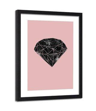 Foto in frame ,Zwarte diamant 2 , 80x120cm , zwart roze ,wanddecoratie