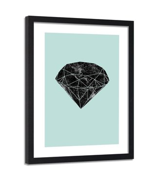 Foto in frame , Zwarte diamant , 80x120cm , zwart groen ,wanddecoratie