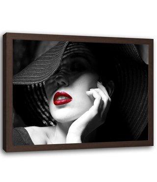 Foto in frame , Vrouw met Hoed 2 , 120x80cm , zwart wit rood , Premium print