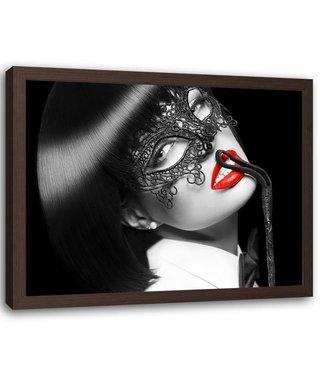 Foto in frame , Vrouw met masker , 120x80cm , zwart wit rood , wanddecoratie