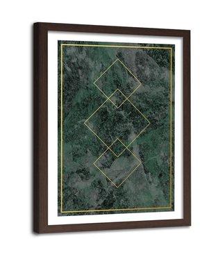 Foto in frame , Gouden vierkanten  2 , 80x120cm , groen geel , wanddecoratie
