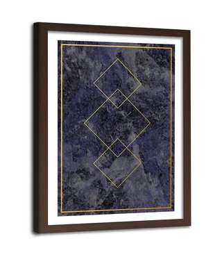 Foto in frame , Gouden vierkanten , 80x120cm , zwart geel , wanddecoratie