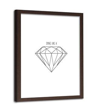 Foto in frame , Getekende diamant , 80x120cm , zwart wit , wanddecoratie
