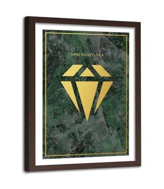 Foto in frame , Shine bright like a diamond  2, 80x120cm , groen geel , wanddecoratie