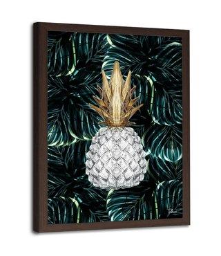 Foto in frame , Witte ananas op tropisch groen , 70x100cm , wit groen geel , wanddecoratie