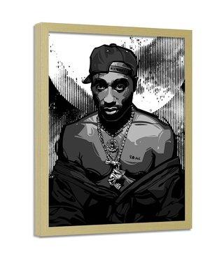 Foto in frame , Tupac ,Rapper , 70x100cm , zwart wit , wanddecoratie
