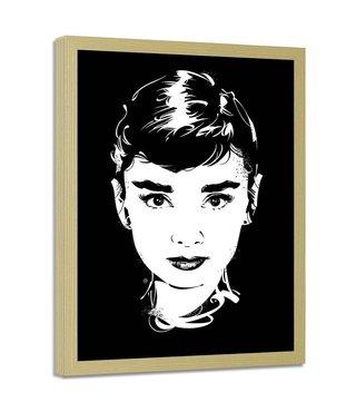 Foto in frame , Audrey Hepburn , Filmster , 70x100cm , zwart wit , wanddecoratie