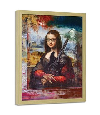 Foto in frame , Mona Lisa , Abstract , 70x100cm , multikleur , wanddecoratie