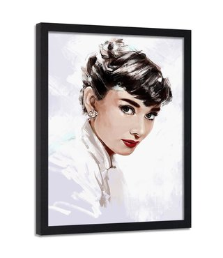 Foto in frame , Audrey Hepburn 3 , 70x100cm , zwart wit ,Premium print
