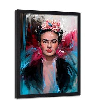 Foto in frame , Frida Kahlo , Kunstschilderes , 70x100cm , multikleur , wanddecoratie