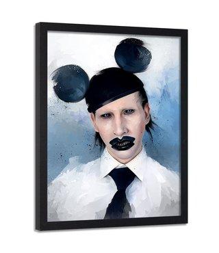 Foto in frame , Marilyn Manson muis , 70x100cm , zwart wit blauw , wanddecoratie