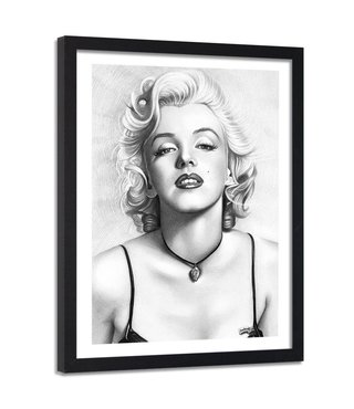Foto in frame , Marilyn Monroe , Filmster , 80x120cm , zwart wit , Premium print