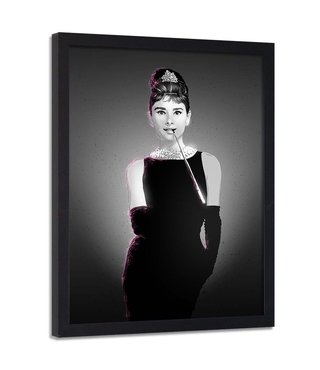 Foto in frame , Audrey Hepburn  2, Filmster , 70x100cm , zwart wit , wanddecoratie