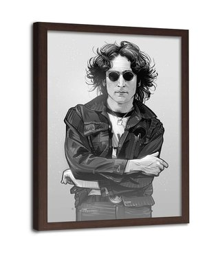 Foto in frame , John Lennon , Legende , 70x100cm , zwart wit , wanddecoratie