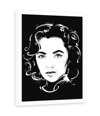 Foto in frame , Elizabeth Taylor , 70x100cm ,Zwart wit , wanddecoratie , Premium Print