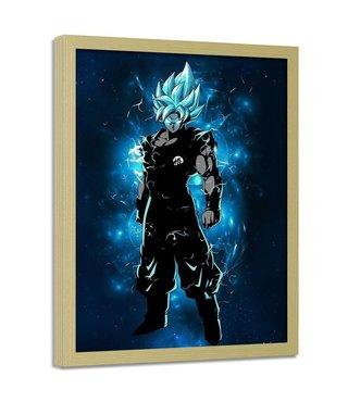 Foto in frame , Dragon Ball 7, 70x100cm , blauw zwart , wanddecoratie