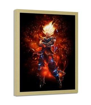 Foto in frame , Dragon Ball 6 , 70x100cm , rood zwart , wanddecoratie