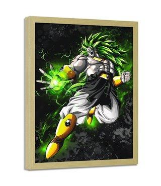 Foto in frame , Dragon Ball 5, 70x100cm , groen wit zwart , wanddecoratie