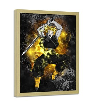 Foto in frame , Dragon Ball 4 , 70x100cm , geel wit zwart , wanddecoratie