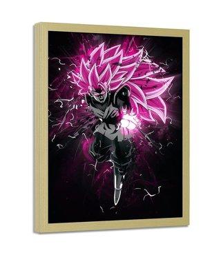 Foto in frame , Dragon Ball 3, 70x100cm , roze wit zwart , wanddecoratie