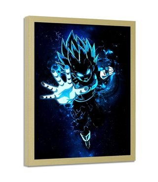 Foto in frame , Dragon Ball  2 , 70x100cm , blauw wit zwart , wanddecoratie