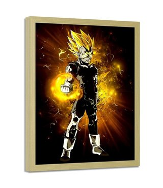 Foto in frame , Dragon Ball , 70x100cm , geel wit zwart ,wanddecoratie