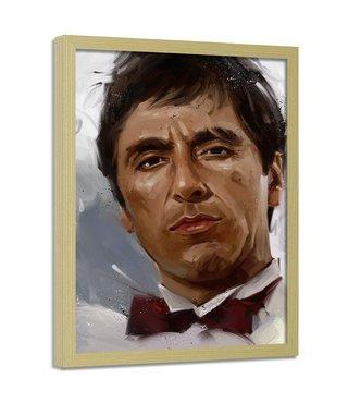 Foto in frame , Scarface , Al Pacino , 70x100cm , bruin wit zwart , wanddecoratie , Premium print