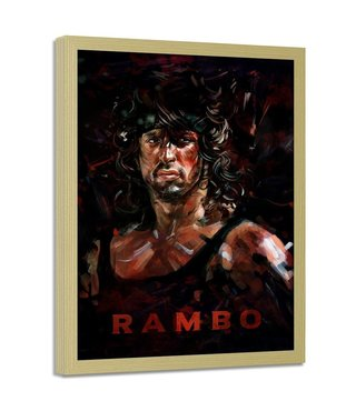 Foto in frame , Rambo , 70x100cm , Film personage , Bruin zwart , Premium Print