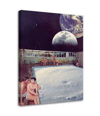Schilderij , Abstracte zwembad in de ruimte , 70x100cm ,  Multikleur , wanddecoratie , Premium print