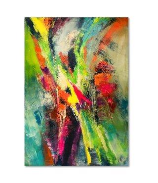 Schilderij  , Abstracte vogel vormen , 3 maten , Multikleur , wanddecoratie , Premium print