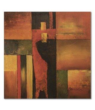 Schilderij - Abstracte blokken, bruin, 100x100, wanddecoratie