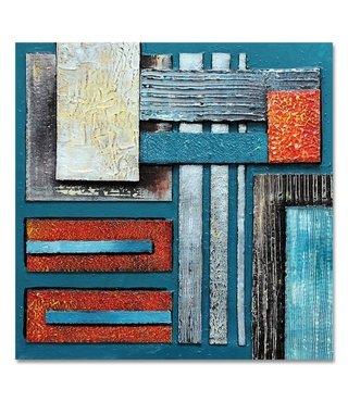 Schilderij Blauwe abstractie, 100x100, premium print