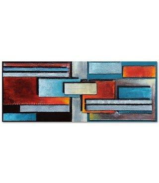 Schilderij - Panorama abstract, 150x60, rood/blauw, wanddecoratie