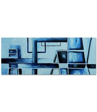 Schilderij - Panorama abstract, 150x60, blauw, premium print